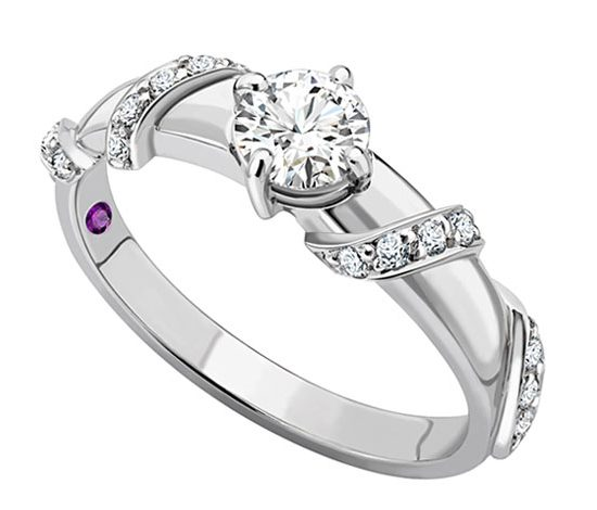 Ribbon detail solitaire ring