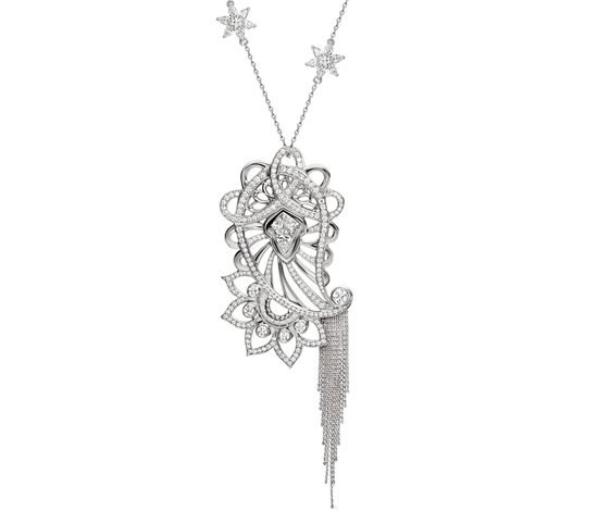 Platinum Paisley Lotus Necklace