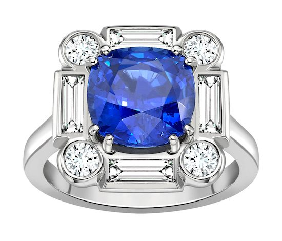 Sapphire Deco Cluster Ring